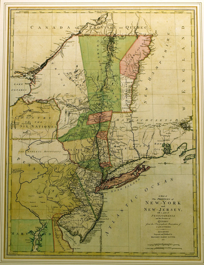 Map Of New York And Quebec.A Map Of The Provinces Of New York And New Jersey With Part Of Quebec By New Jersey Claude Joseph Sauthier On James Cummins Bookseller