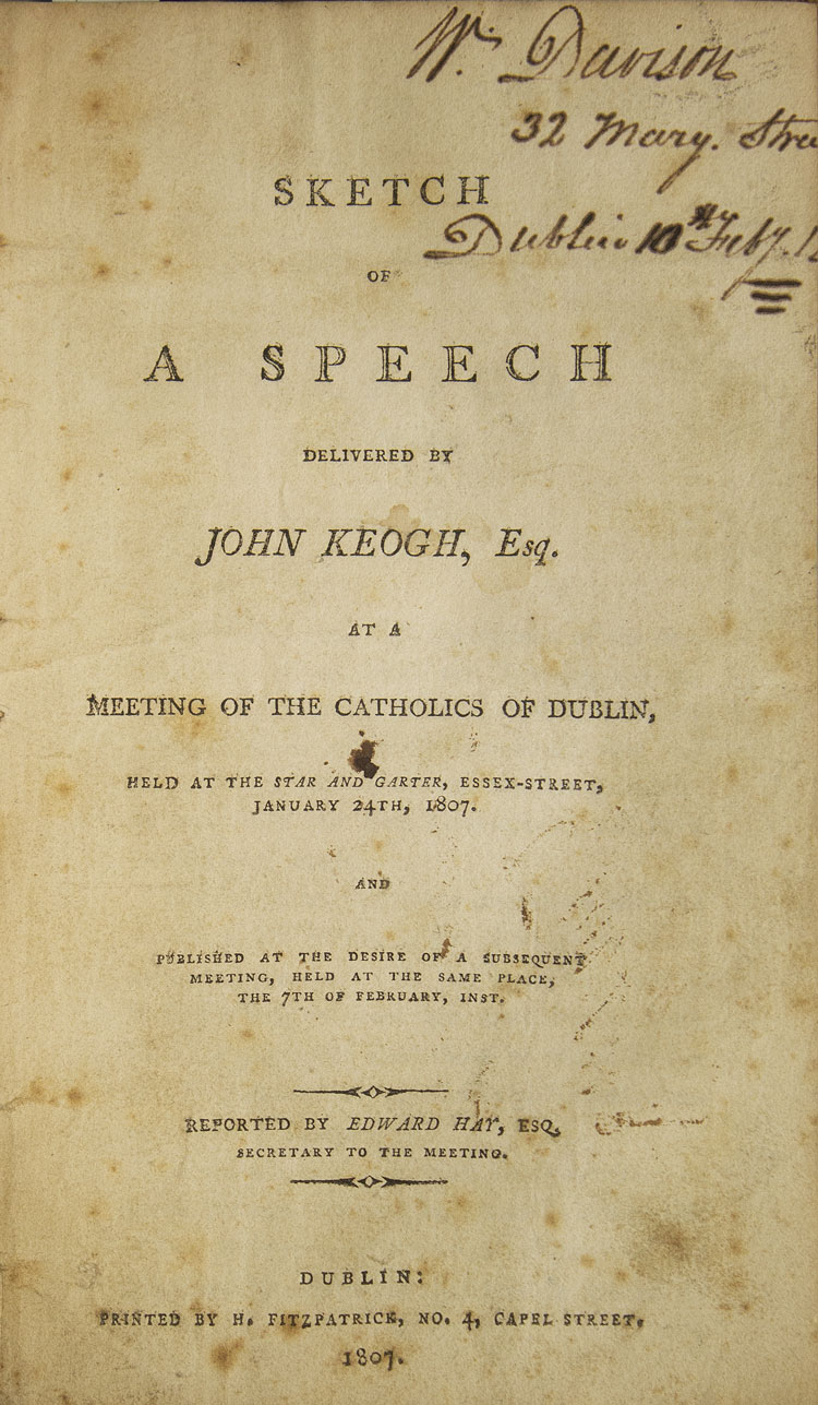 letter to His Excellency Earl Camden, on the present causes of discontent in Ireland