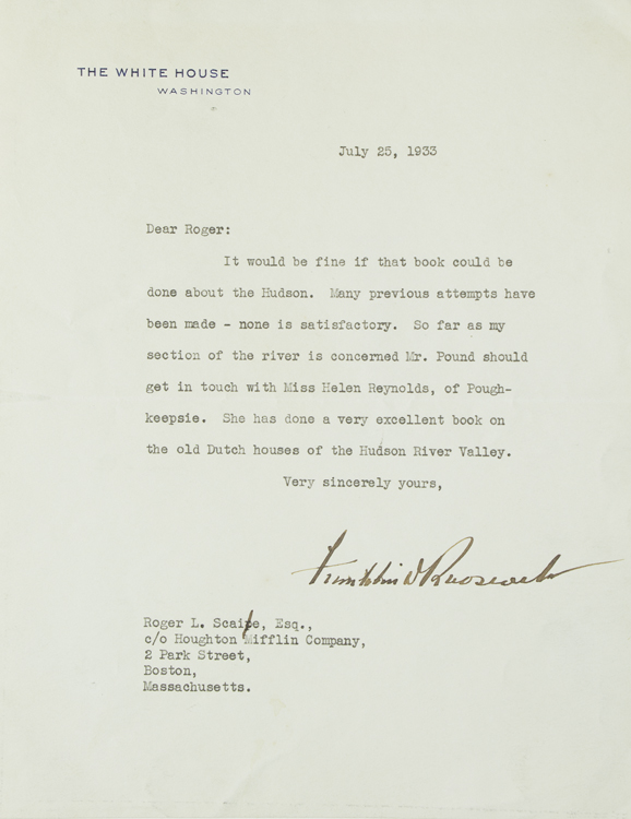Typed Letter, signed as President, to Roger Scaife of