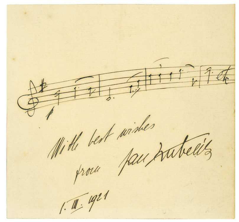 autograph musical quotation inscribed with best wishes from jan