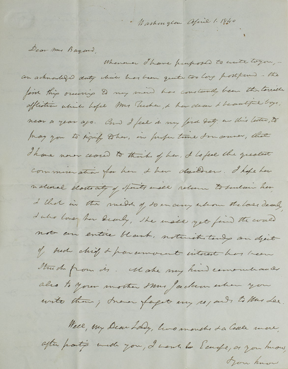 Autograph Letter, Signed. To Mrs. Richard H. Bayard Mary