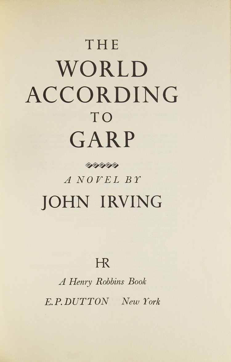 The World According to Garp by John Irving on James Cummins Bookseller