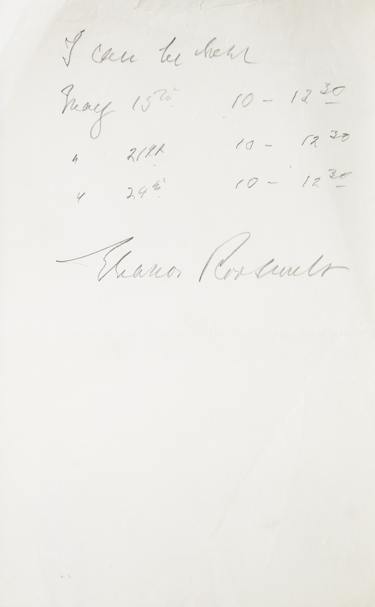 ANS. I can be there May 15... Signed Eleanor Roosevelt