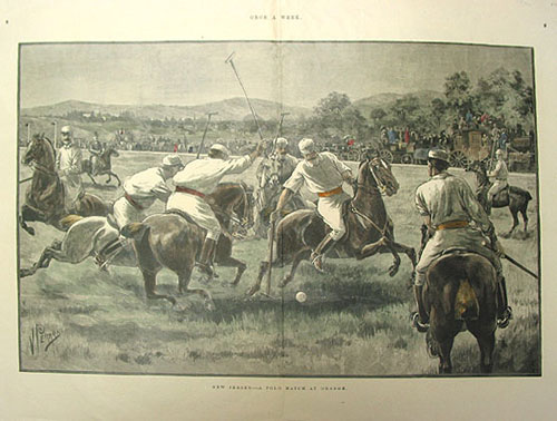 """New Jersey--A Polo Match at Orange"", wood engraving after V. Perard, signed in the plate lower left, with touches of hand-coloring. Polo, Perard, ictor Simon."