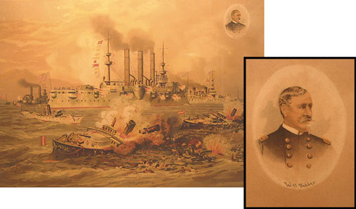 """Chromolithographic Print: """"Destruction of Admiral Cervera's Fleet at Santiago De Cuba, July 3rd, 1898"""" showing battle scene and inset at upper right is circular portrait of W.(infield) S.(cott) Schley (1839-1909). Spanish-American War, Xanthus Smith."""