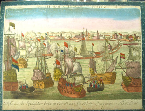 "Hand-colored engraving, entitled ""La Flotte Espagnole a Barcellone,"" printed in reverse across the top; and ""Schiffe zu der Spañischen Flotte in Barcellona / La Flotte Espagnole a Barcellone"" at lower margin. Collection des Prospect. Spanish Fleet, Balthazar Frederich Leizelt."