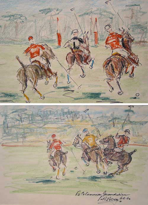 Two pen and ink drawings on paper, colored in crayon, depicting scenes from Polo matches in Cannes. Polo, P. R. Berry.