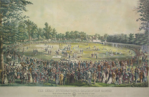 "Lithograph, colored: ""The Great International Caledonian Games / Held at Jones Woods, New-York City, July 1st, 1867/ This picture is respectfully dedicated to the Caledonian Clubs throughout the United States"" Caledonian Games, J. L. Giles."