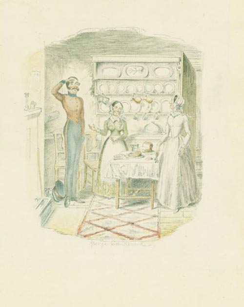 A highly finished pencil and watercolor drawing of a kitchen scene. George Cruikshank.