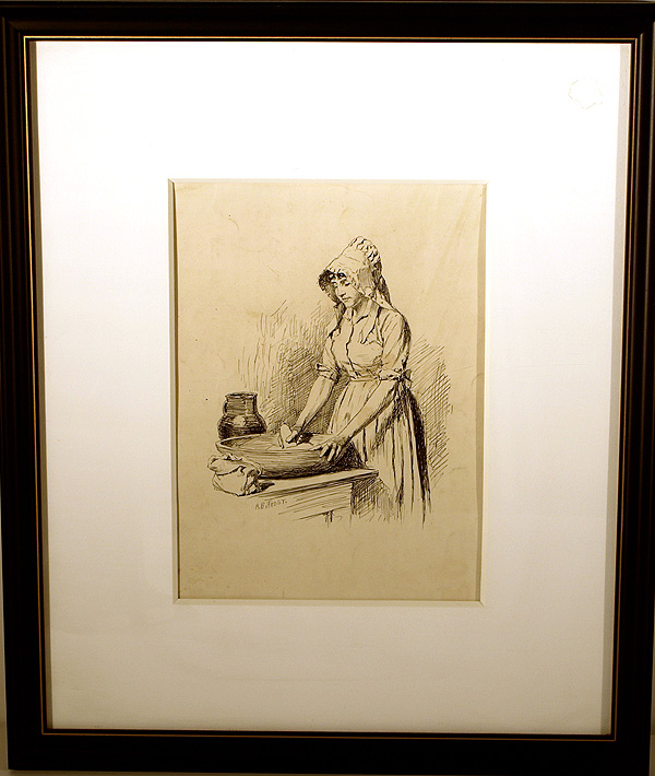 """Pen-and-ink Drawing, captioned """"Caleb's courtship / Eunice Stout"""", signed (""""A.B. Frost""""). A. B. Frost."""