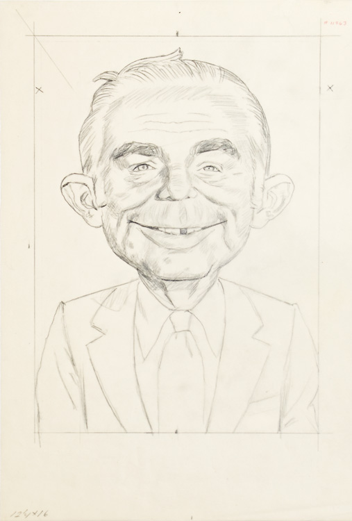 "ORIGINAL PRELIMINARY PENCIL TISSUE FOR ""MAD MAGAZINE"" PAINTING OF ALFRED E. NEUMAN. Norman Mingo."