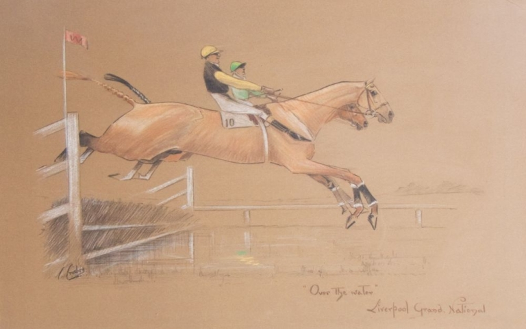 "An attractive pastel ""'Over the water' - Liverpool Grand National"", signed and titled by the artist. C. Crosley."