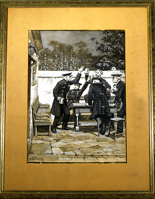 FINE GOUACHE ILLUSTRATION OF FRENCH MILITARY VETERANS DRINKING IN A TAVERN COURTYARD, SIGNED. A. B. Frost.