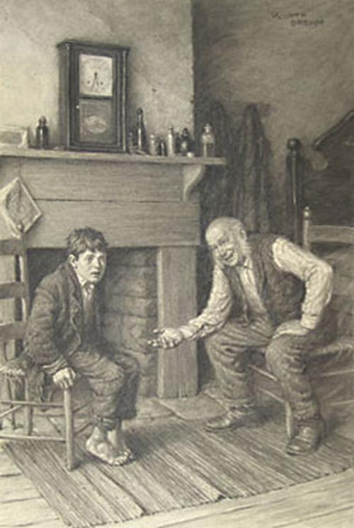 "FINE ORIGINAL CHARCOAL DRAWING, ""MY BOY, DON'T BE AFRAID OF ME"", FROM THE ADVENTURES OF TOM SAWYER, signed upper right. Worth Brehm."