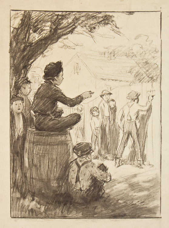 Preliminary drawing for illustration to The Adventures of Tom Sawyer. Worth Brehm.