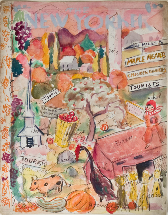 Fine pencil, ink and watercolor design for a New Yorker cover. Barbara Shermund.
