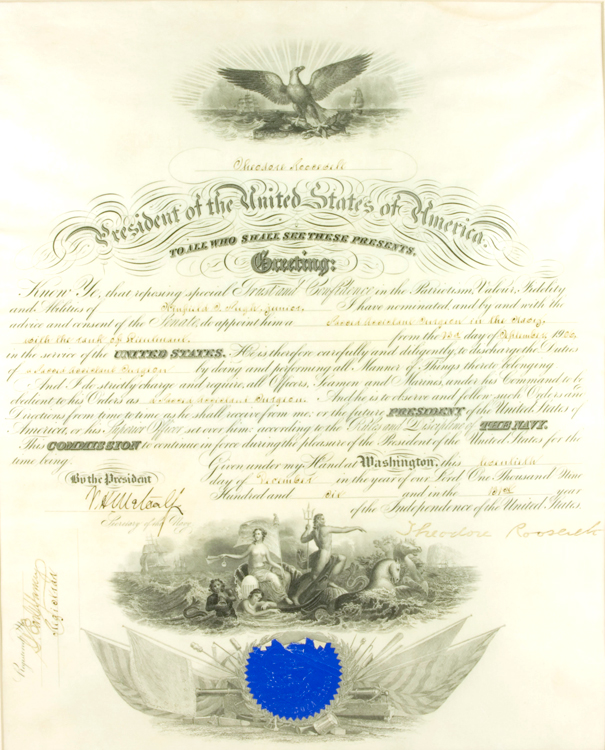 Partly printed document on vellum, appointing Winfield Scott Pugh, Jr. to Second Assistant Surgeon in the Navy with the rank of Lieutenant, signed by Theodore Roosevelt. Theodore Roosevelt.