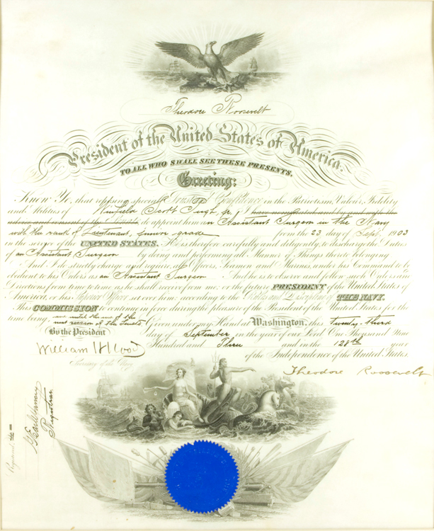 Partly printed document, on vellum, promoting Winfield Scott Pugh, Jr. to Assistant Surgeon in the Navy with the Rank of Lieutenant, junior grade, signed by Theodore Roosevelt. Theodore Roosevelt.