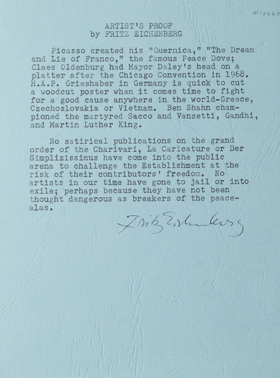 """Typed quotation, prepared by a collector, signed at the bottom (""""Fritz Eichenberg""""). Fritz Eichenberg."""