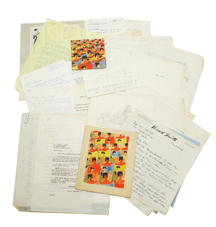 AN INTERESTING ARCHIVE OF ART AND CORRESPONDENCE BETWEEN AMERICAN ARTIST HAROLD SMITH AND DANIEL ROCHFORD, MANAGING EDITOR OF THE SPORTSMAN AND LATER ESSO EXECUTIVE, 1937-1969. Sporting Art, Harold Smith.