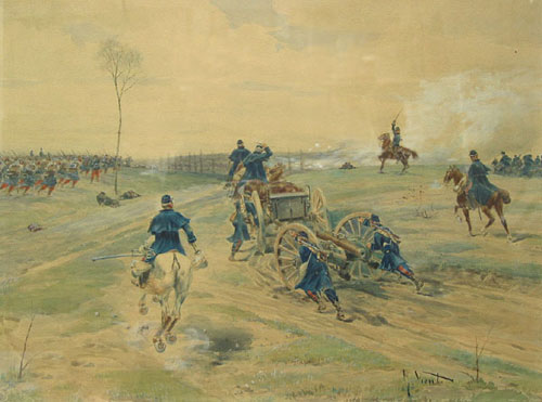 "Battle scene, Franco-Prussian War, signed at lower right (""G. Vient""). Gustave Vient."