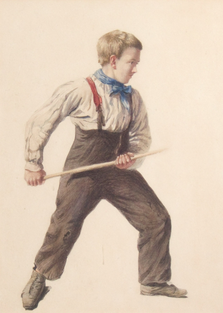 Young boy with blue kerchief and stick. Artist unknown.
