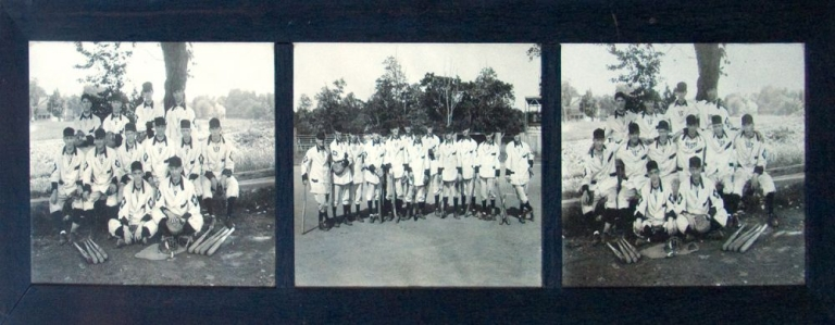 BASEBALL TEAM OF 1912: Three photographs, each 9 3/4 x 13 inches, mounted in the original dark wood three-window frame by W.F. Baker of Parker Studio of Morristown on July 19, 1912. Baseball.