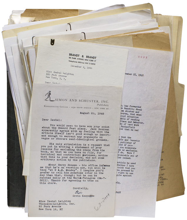 Archive of her book, The Aspirin Age, consisting of first editions in English, Chinese and Japanese, photographs and promotional material, and approximately 50 letters from authors appearing in the book and others involved in its production. Isabel Leighton.
