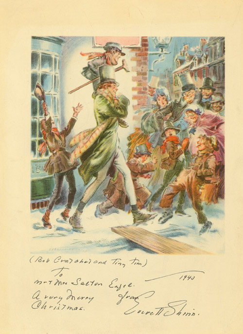 Three full color Christmas cards designed by Everett Shinn, with signature on one and signed inscriptions on the others. Everett Shinn.