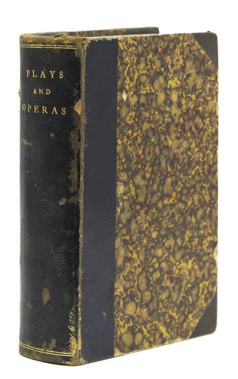 """A volume of 10 bound plays, all but two from the Turner Dramatic Library, described as """"Correctly printed from the most Approved Acting Copy with a description of the Costume, Cast of the Characters, Entrances and Exits, Relative Positions and the Whole of the Stage Business to which are added Properties and Directions as now performed in the Principal Theatres"""". American Theater."""