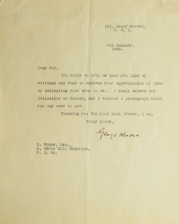 """Typed letter, signed """"George Moore,"""" one page. George Moore."""