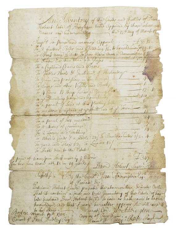 Retained court recorded copy of a manuscript inventory made of the goods of the late Daniel Hobart of Hingham by David Hobart and Samuel Hobart, which was presented by Patience Hobart, the widow for probate to the Suffolk Court, Judge Isaac Addington presiding, this copy of the record examined by Benjamin Rolfe and Paul Dudley. Boston.