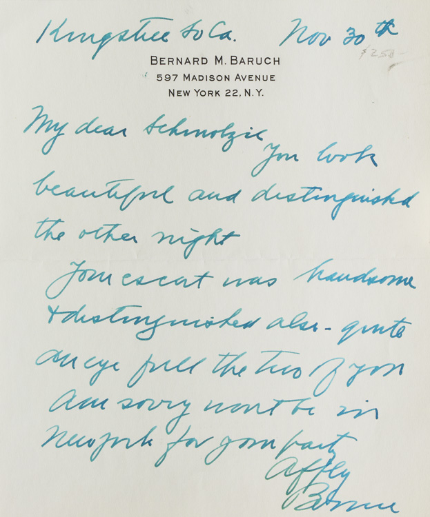 """Autograph letter signed """"Bernie,"""" one page. Bernard Baruch."""