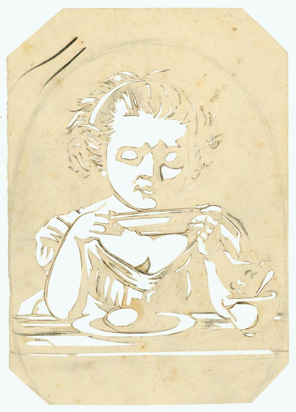 A fine example of the American cut-out showing a young girl, seated, sipping from a bowl with a steaming cup at the side. American Cut-out.