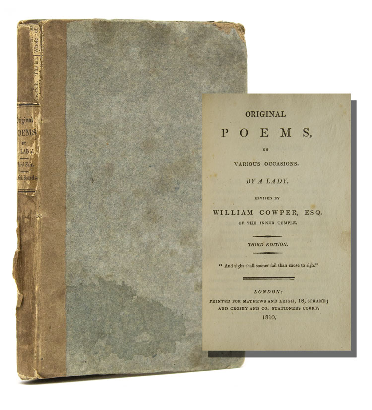 Original Poems, on Various occasions. By a Lady. Revised by William Cowper, Esq. of the Inner Temple. Franci Maria Cowper.