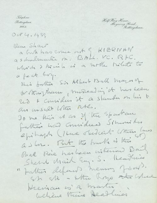"""Autograph Letter signed (""""Maurice Baring"""") to T.E. LAWRENCE. T. E. LAWRENCE, Maurice Baring."""