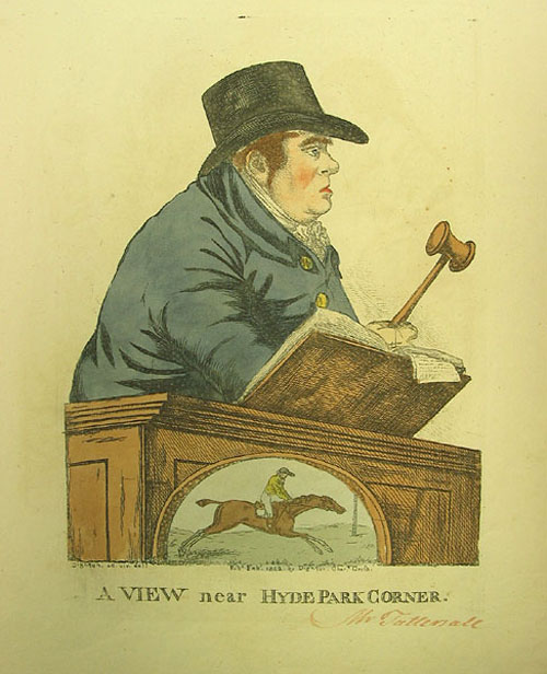 "Hand-colored engraved caricature: ""A View near Hyde Park Corner."" Depicting the famous equestrian auctioneer, Richard Tattersall. Robert Dighton, I, British."