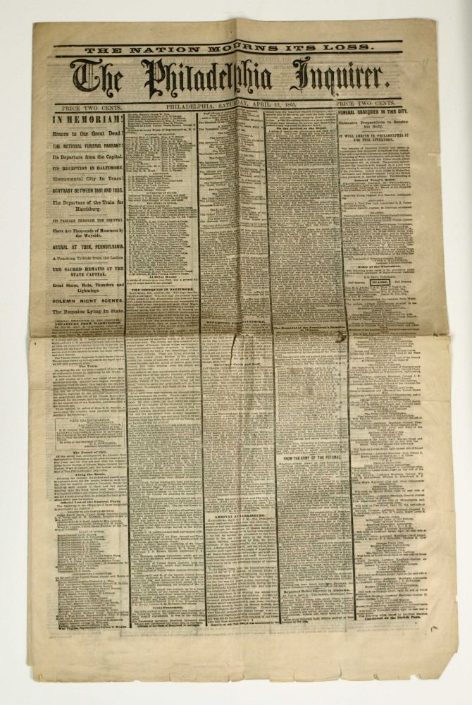 The Philadelphia Inquirer. The Nation Mourns Its Loss. Abraham Lincoln.