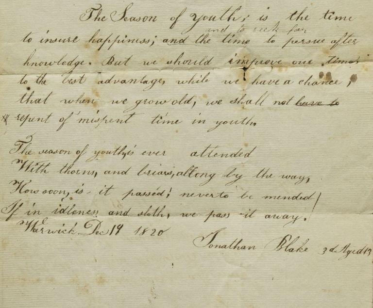 """Two handwritten poems by by Jonathan Blake 3d, the first entitled """"The Season of Youth,"""" the second """"An Acrostic"""" Jonathan Blake, 3d."""