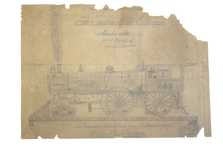 "Drawing: Train, ""The Empire State Express Number 999 goes the rate of 130 miles in one hour. Langley Collyer."