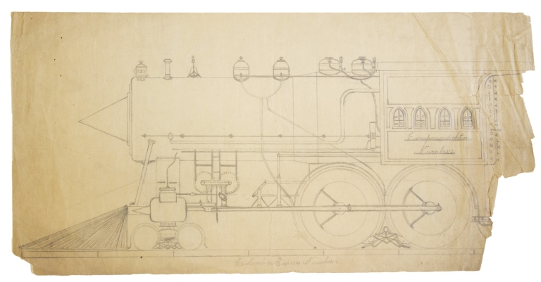 "Drawing: Train, ""Columbia Express Number 2"" and above on the Cab ""COMPOUND ACTION NUMBER 2."" Langley Collyer."
