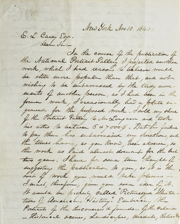 Autograph Letter signed to Philadelphia publisher E.L. Carey, discussing a possible partnership with Carey in publishing a work in progress. James Herring.