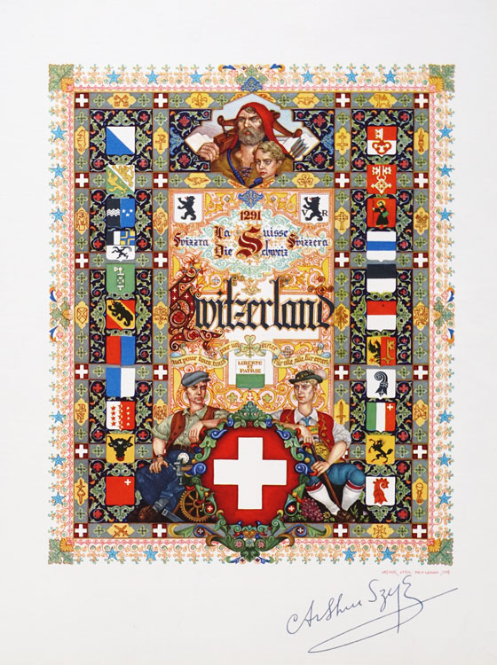 Title page... for the State of Israel; Canada; for the Airmails of the World; for the Union of Soviet Socialist States; for Great Britain; for France; for the United States; for China; for Poland and for Switzerland (signed by the Artist lower right.). Arthur Szyk.