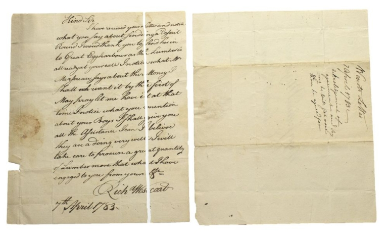 "Autograph Letter signed (""Rich Wescoat"") to Major JOSHUA MERSEREAU in Elizabeth Town (New Jersey) regarding an order for lumber from the Mersereau and his brother, John. American Revolution, Richard Wescoat."