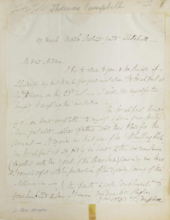 """Autograph letter signed """"T. Campbell"""" to Mrs. [John] Hughes, accepting her invitation to breakfast. Thomas Campbell."""