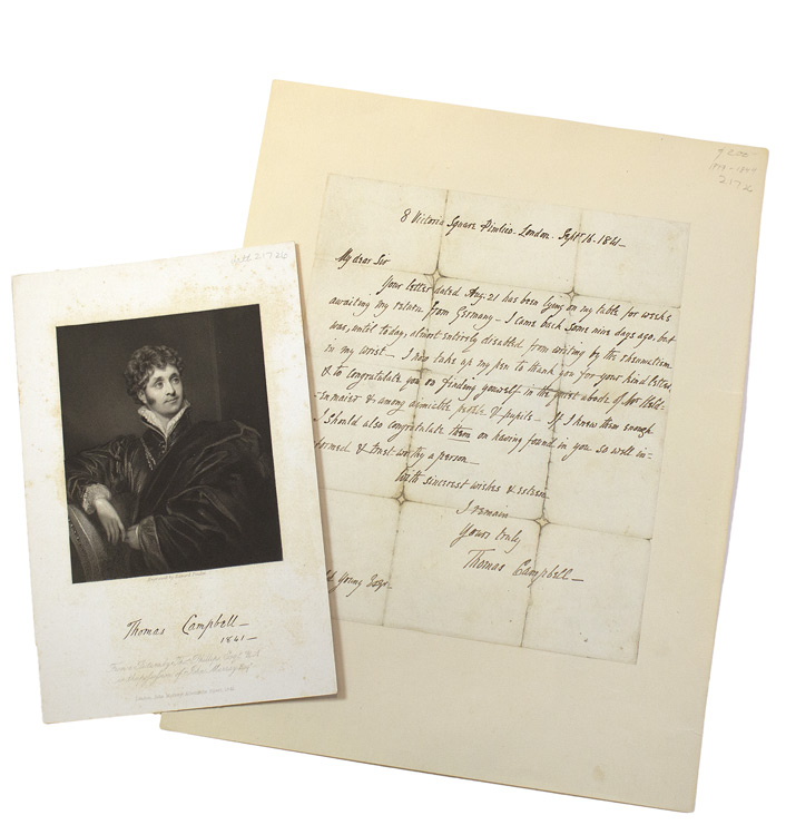 """Autograph Letter Signed (""""Thomas Campbell"""") To Ronald Young. Thomas Campbell."""