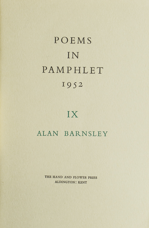 The Frog Prince and Other Poems. Alan Barnsley, aka Gabriel Fielding.