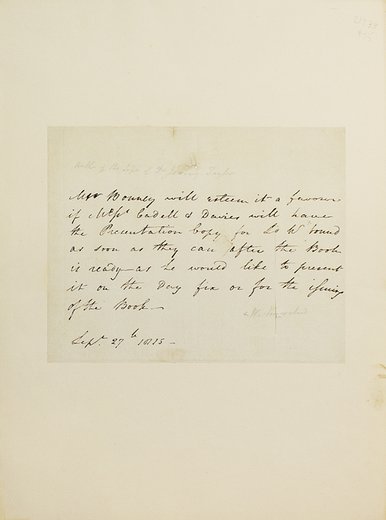 Autograph letter in the third person. Henry Kaye Bonney, DD, divine.