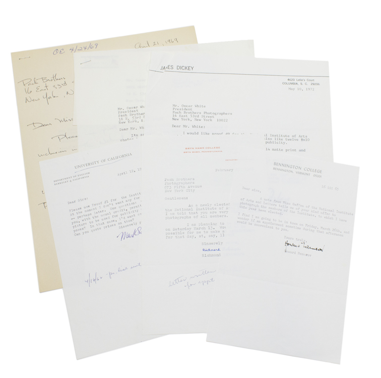 Small archive of 6 Letters signed (5 Typed, 1 Autograph) to the New York photographers PACH BROS, from members of the National Institute of Arts and Letters, making appointments to be photographed, approving proofs or ordering prints of publicity photos. Includes JAMES DICKEY, RICHMOND LATTIMORE, HOWARD NEMEROV, W.D. SNODGRASS, MARK SCHORER, and KENNETH BURKE (Autograph Letter, signed). American Literature.