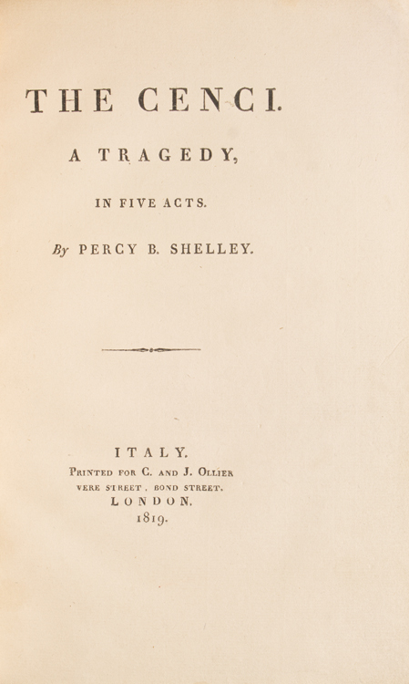 The Cenci. A Tragedy. Shelley, sshe.